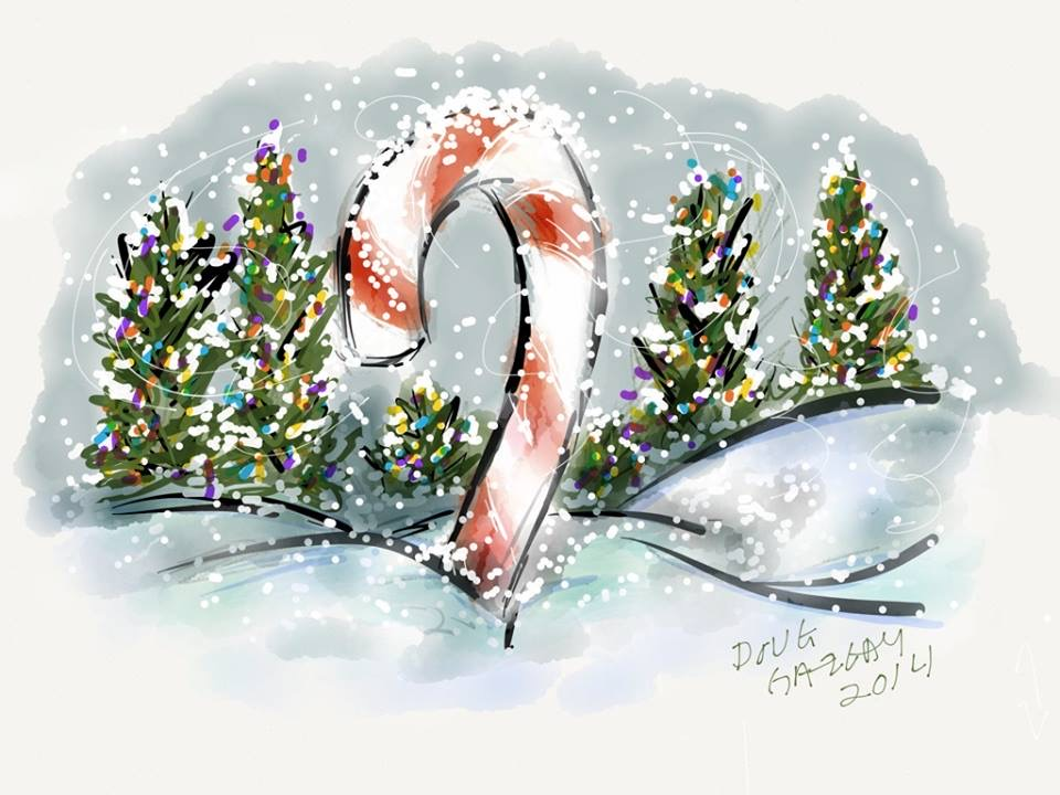 CANDY CANE IN THE SNOW 2014- jigsaw puzzle- Doug Gazlay- DougPuzzles.com