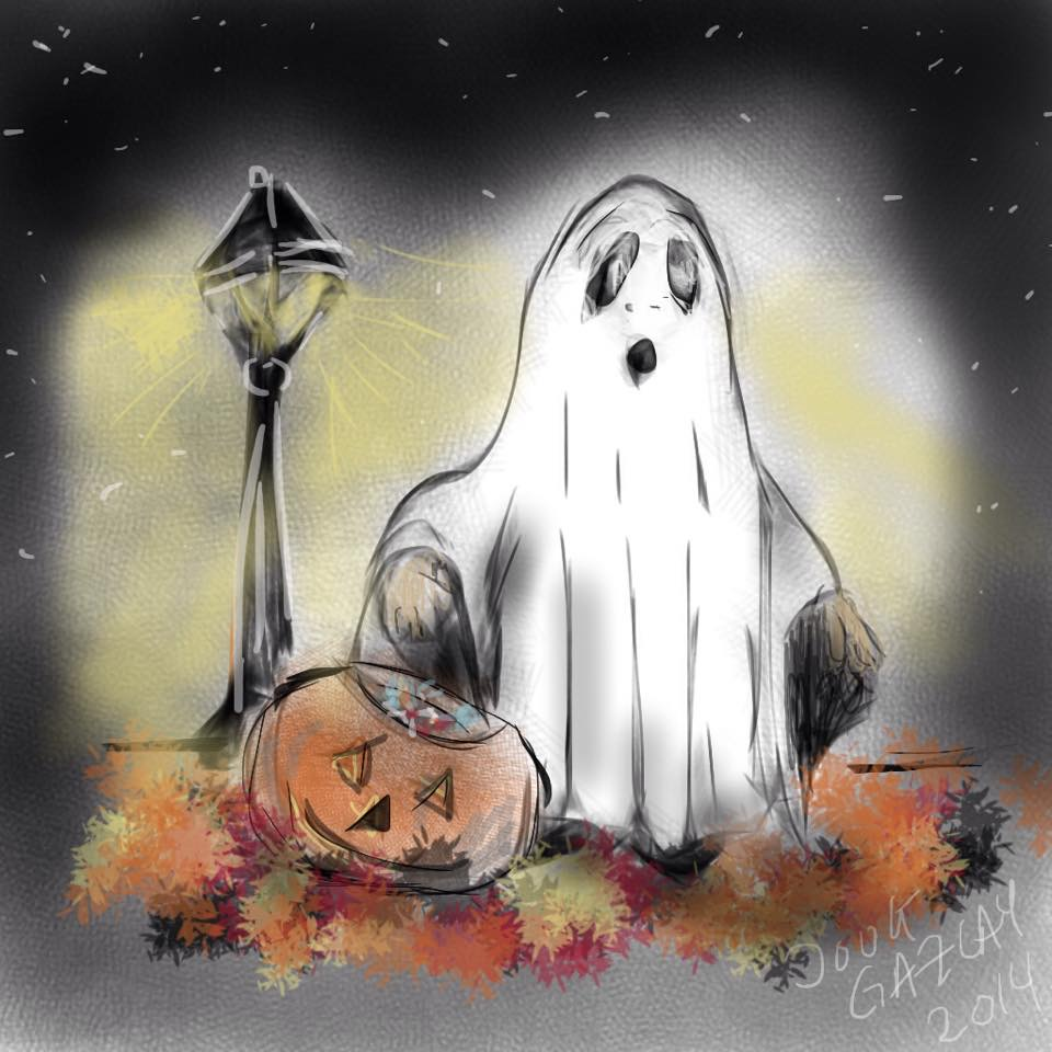 TRICK-OR-TREATER IN WHITE 2014- jigsaw puzzle- Doug Gazlay- DougPuzzles.com