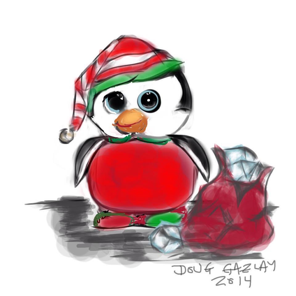CHRISTMAS PENGUIN 2014- jigsaw puzzle - Doug Gazlay- DougPuzzles.ccom