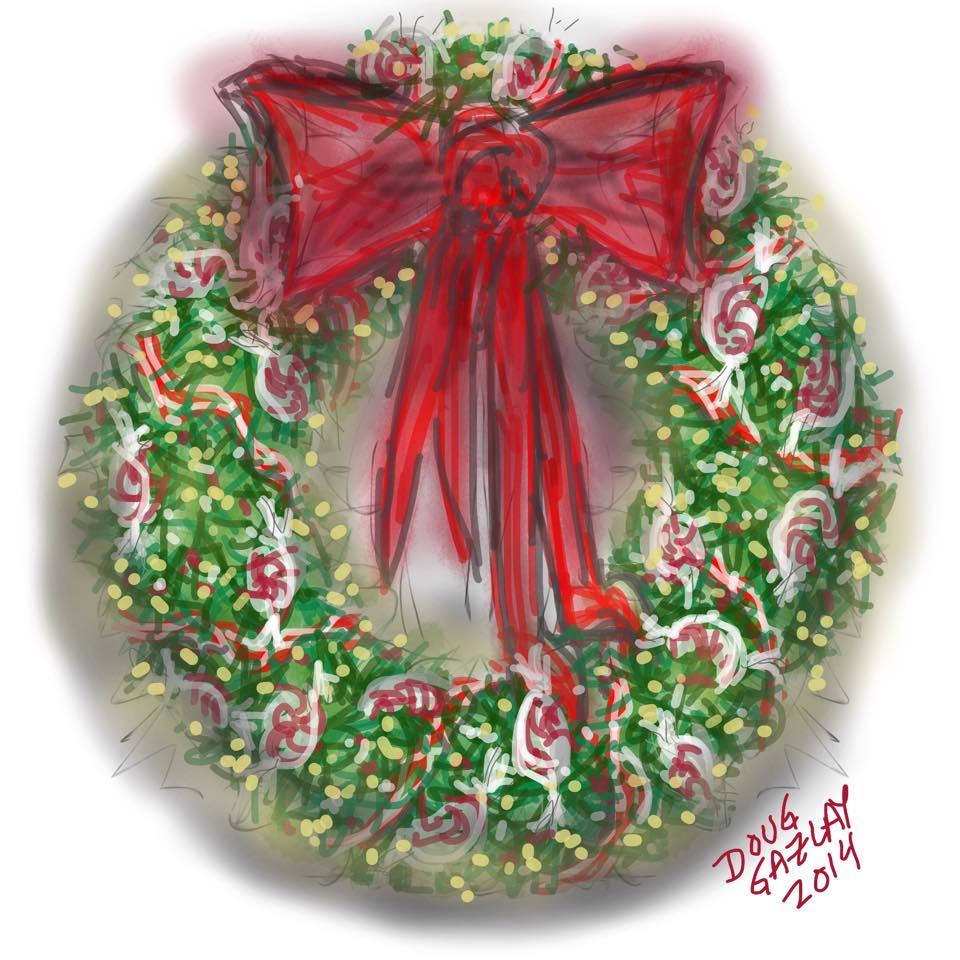 CHRISTMAS WREATH 2014- jigsaw puzzle- Doug Gazlay- DougPuzzles.com