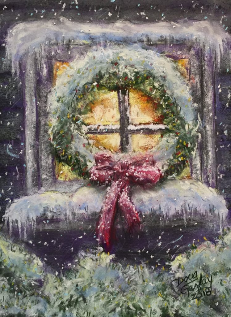 WREATH ON A CHRISTMAS WINDOW 2019- jigsaw puzzle- Doug Gazlay- DougPuzzles.com