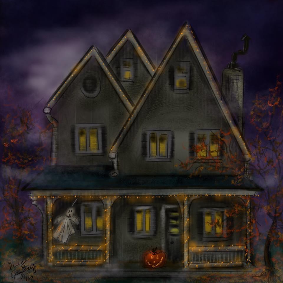 HALLOWEEN HOUSE 2016- jigsaw puzzle- Doug Gazlay- DougPuzzles.com