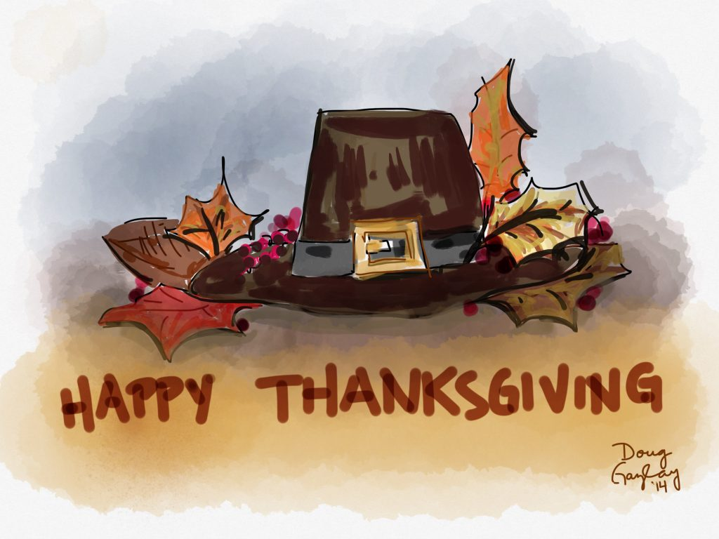 HAPPY THANKSGIVING HAT 2014- jigsaw puzzles- Doug Gazlay- DougPuzzles.com