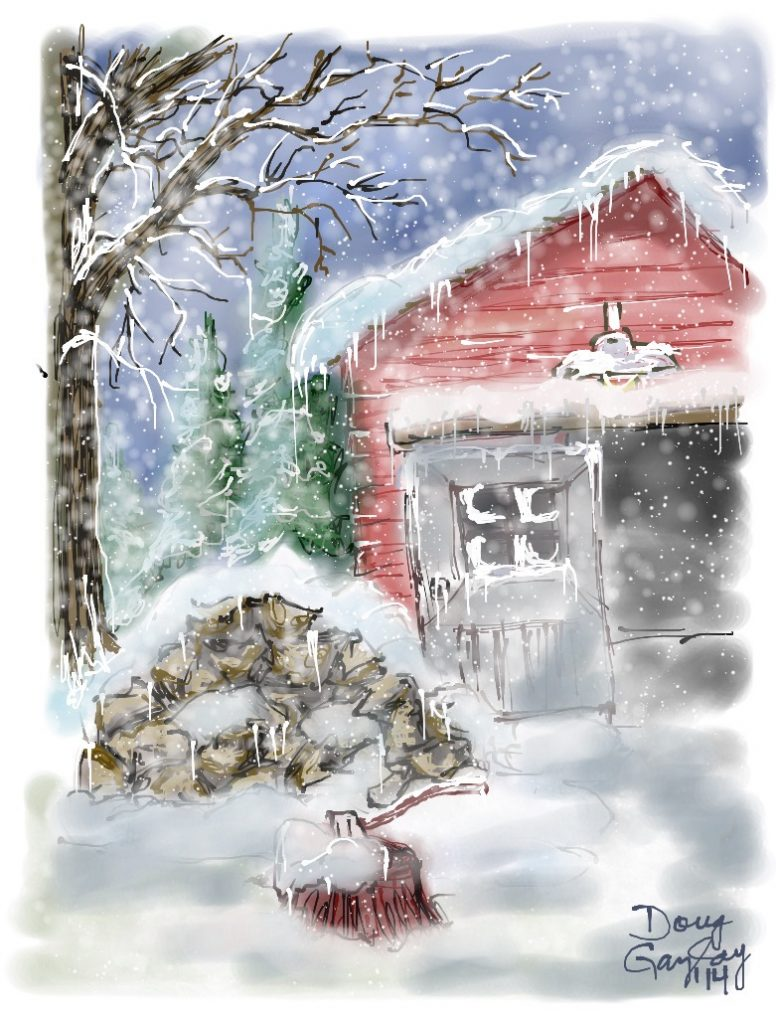 SNOWING IN THE DRIVE 2014- jigsaw puzzle- Doug Gazlay- DougPuzzles.com