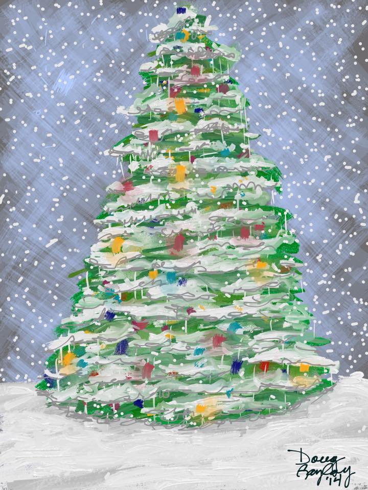 LIT CHRISTMAS TREE IN THE SNOW 2014- jigsaw puzzle- Doug Gazlay- DougPuzzles.com