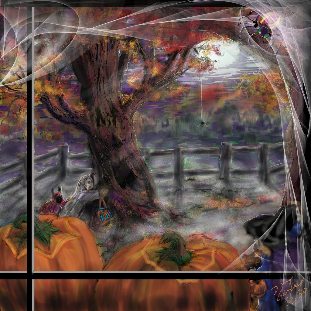 LOOKING OUT A HALLOWEEN WINDOW 2020-jigsaw puzzle-Doug Gazlay- DougPuzzles.com
