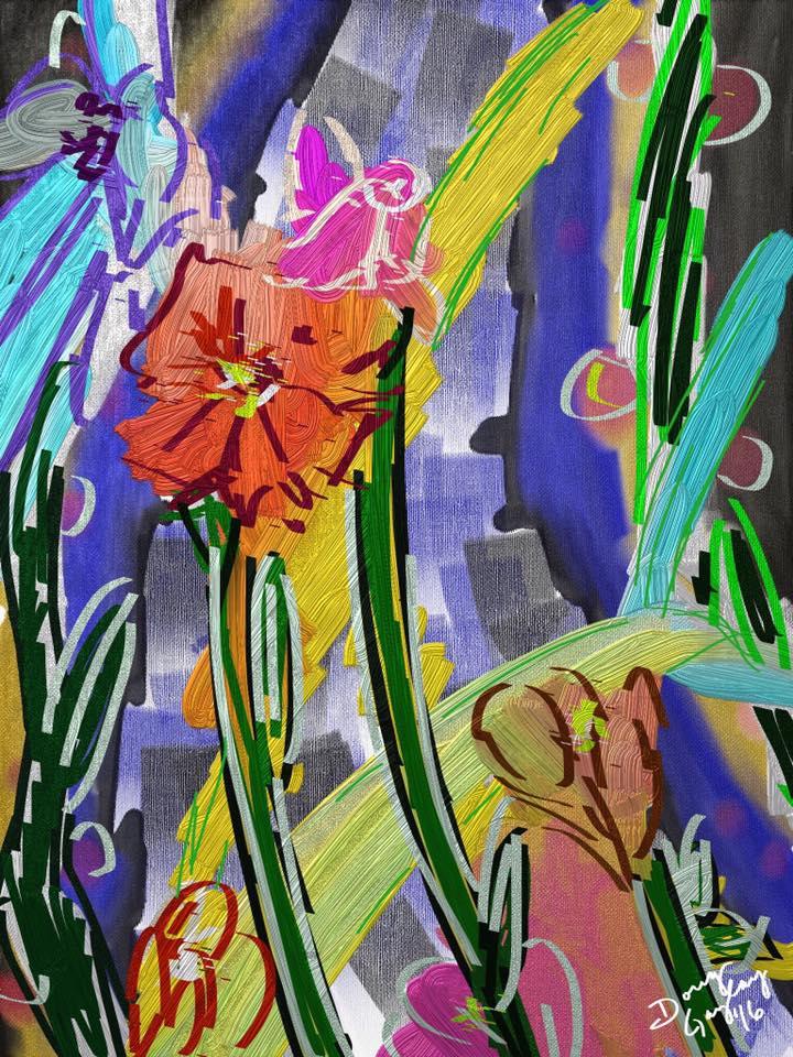 LOOSEY, GOOSEY, FUNKY FLOWERS 2016- jigsaw puzzle- Doug Gazlay- DougPuzzles.com