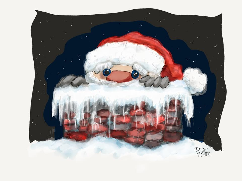 SANTA PEEKING OUT OF CHIMNEY 2015- jigsaw puzzle- Doug Gazlay- DougPuzzles.com