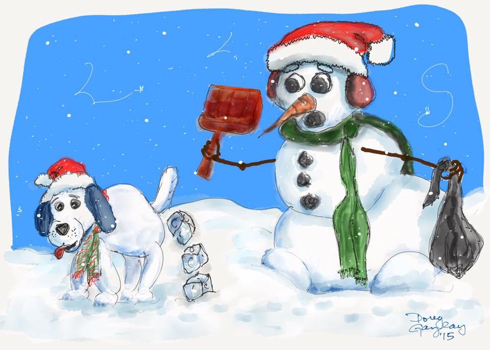 SNOW DOG PRESSENTS 2015- jigsaw puzzle- Doug Gazlay- DougPuzzles.com