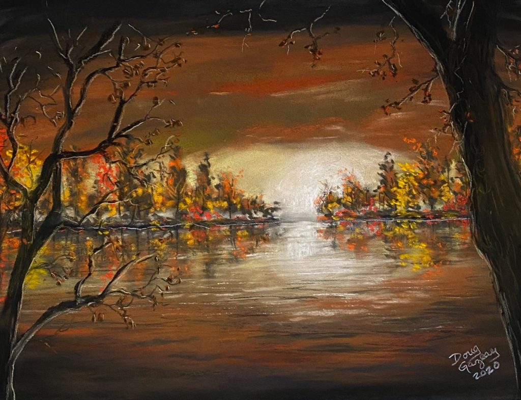 SUNSET AT LAKESIDE IN THE FALL -2020 jigsaw puzzle-Doug Gazlay- DougPuzzles.com